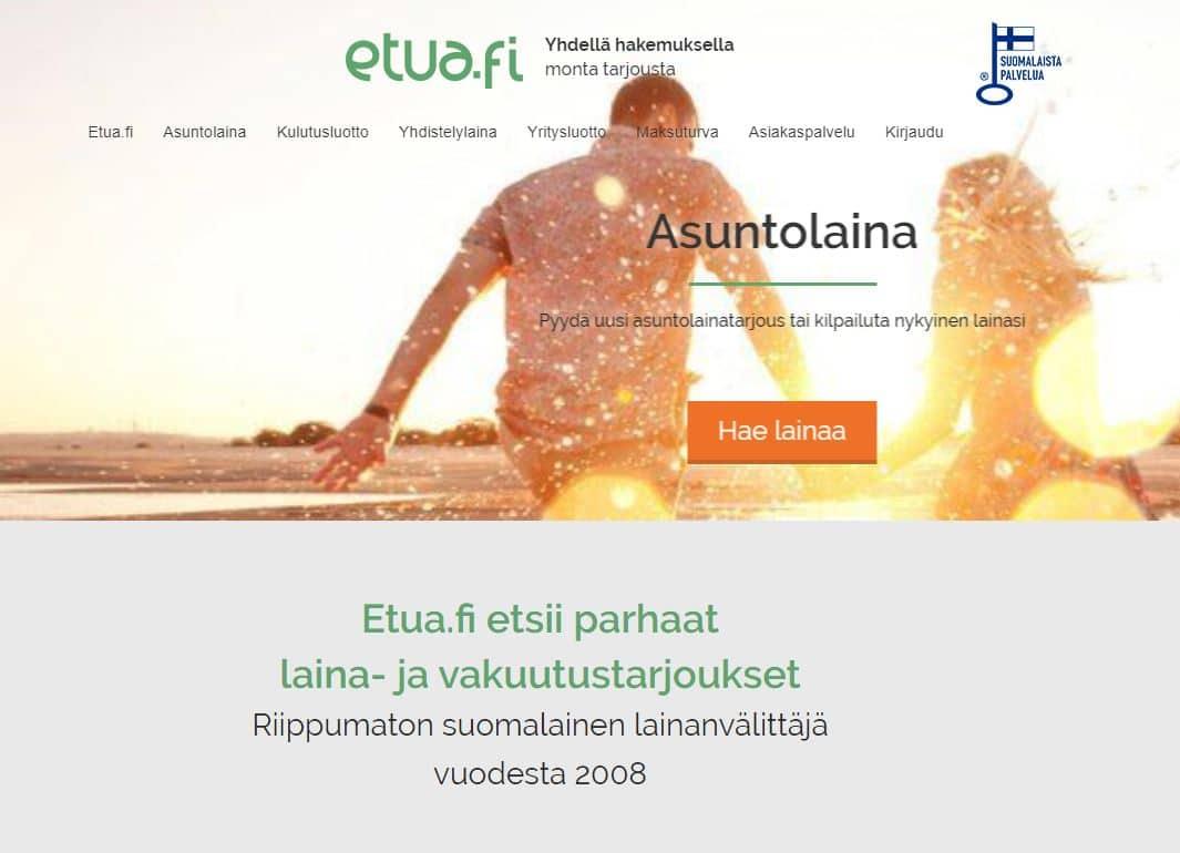 Etua.fi lainapalvelun etusivunäkymä